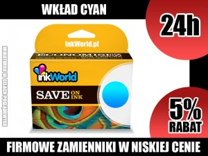 TUSZ INKWORLD 364 NIEBIESKI (CYAN) DO HP 364XL C, KURIER, WYS. 24H!