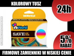 TUSZ INKWORLD KOLOROWY (COLOR) DO HP - 301XL CMY, NOWY