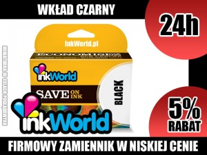 TUSZ INKWORLD CZARNY (BLACK) DO HP - 21XL BK, NOWY, KURIER